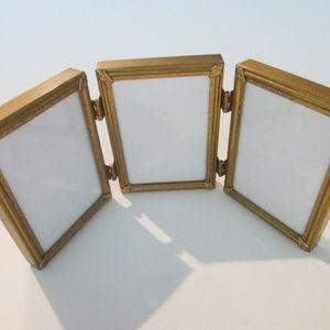 Tri-Fold Brass Vintage Picture Frames